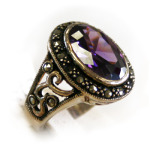 Amethyst and marcasite ring in silver.