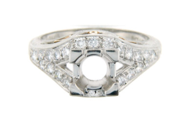 Antique style engagement ring setting with pavé set diamonds