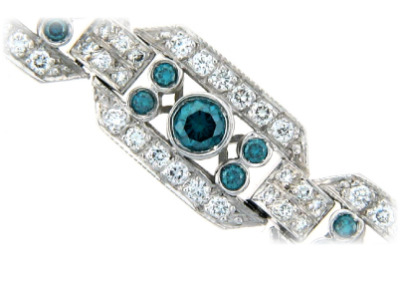 Blue and white diamond bracelet in white gold.