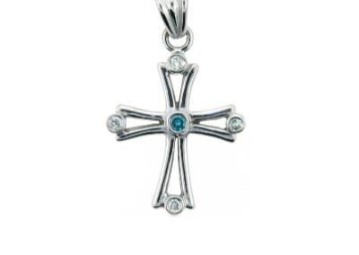 Blue and white diamond cross pendant in white gold.