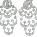 Pavé set diamond chandelier earrings.