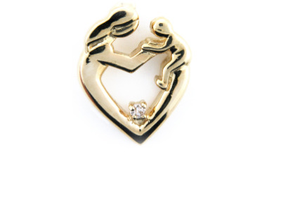Diamond mother and child pendant in yellow gold.