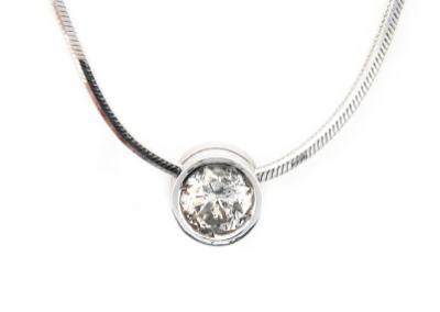 Diamond solitaire pendant in white gold.
