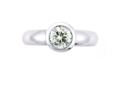 Bezel set diamond solitaire ring in white gold.