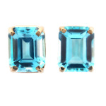 Emerald cut blue topaz earrings in yellow gold.
