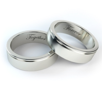 wedding bands engraved with: together forever