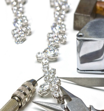 diamond necklace being repaired