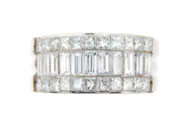 Invisible set diamond anniversary band in white gold.