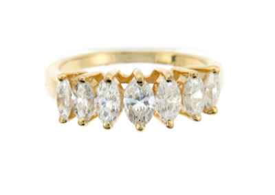 Marquise diamond anniversary band in yellow gold.