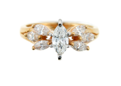 Marquise diamond engagement ring in yellow gold