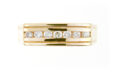 Men's yellow gold and diamond wedding band