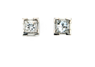 Princess cut diamond stud earrings.