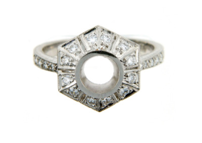 Round antique style engagement ring setting in white gold.
