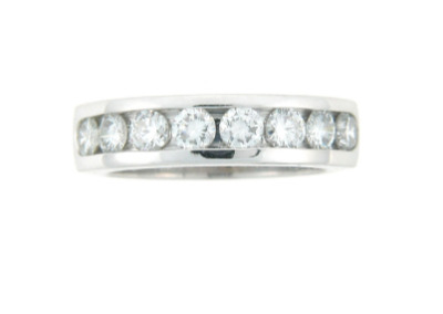 Round brilliant cut diamond anniversary band in white gold.