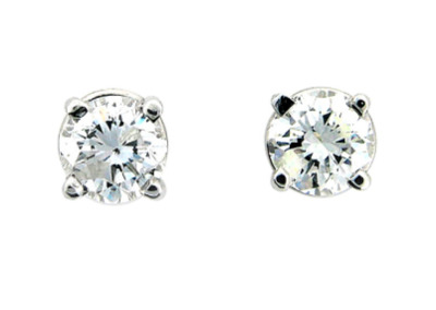 Round brilliant cut diamond stud earrings in white gold.