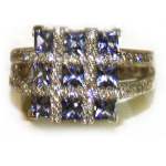 Tanzanite and diamond checkerboard ring in white gold.