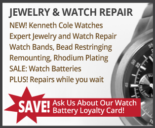 Jewelry and watch repair: new kenneth cole watches, expert jewelry and watch repair - ask us about our watch battery loyalty card