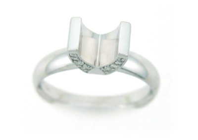 White gold and diamond engagement ring setting.