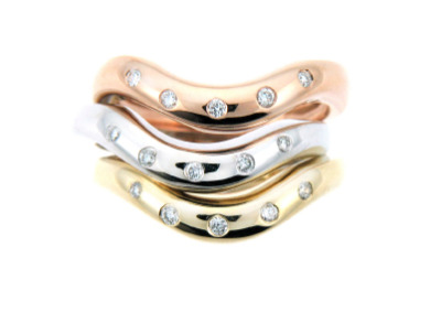 Yellow, white and rose gold diamond ring.